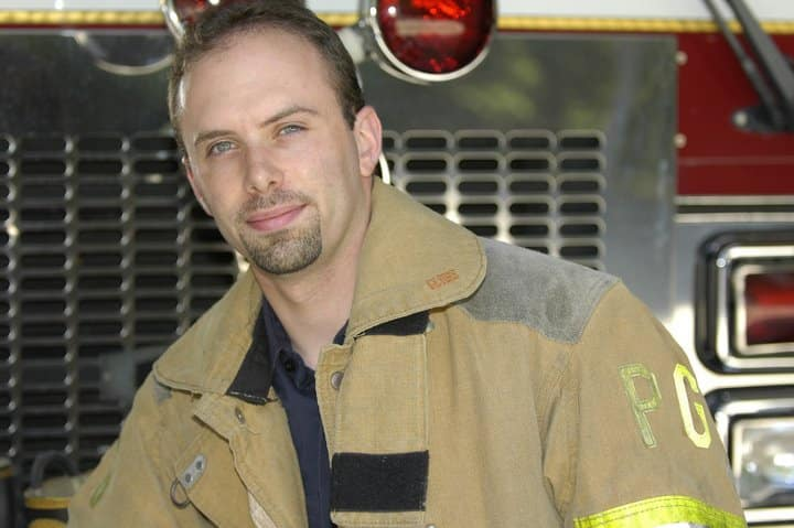 Mourning- Photo of Brian Bregman in fire department jacket