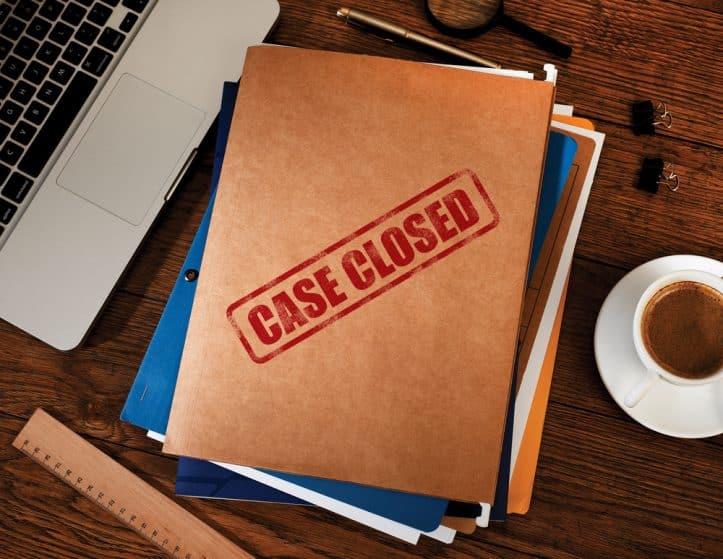 Virginia dismissal statutes- Photo of envelope marked case closed