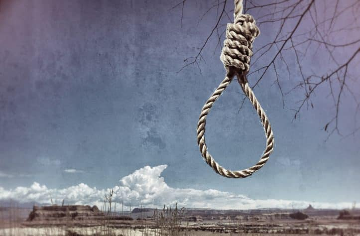 Virginia murder prosecutions- Photo of noose in the prairie