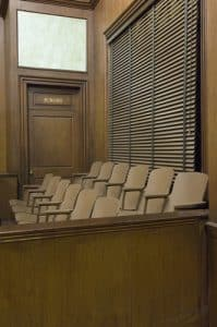 Bottlenecked Virginia jury trials bring opportunities and risks- Photo of jury box