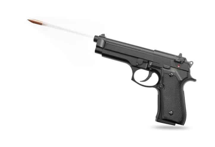 Police seizure- Image of pistol firing bullet