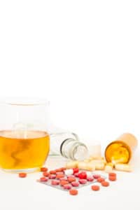 Virginia DUI blood defense - Image of liquor and pills